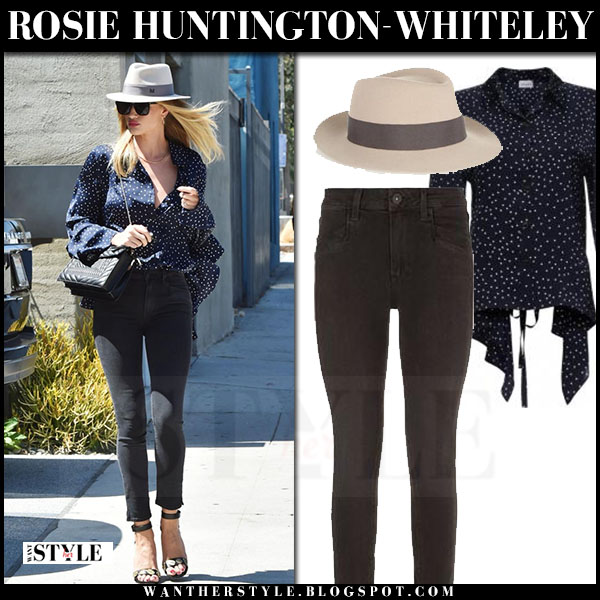 Rosie Huntington-Whiteley in blue polka dot magda butrym orleans blouse, black skinny jeans paige roxxi and black sandals what she wore