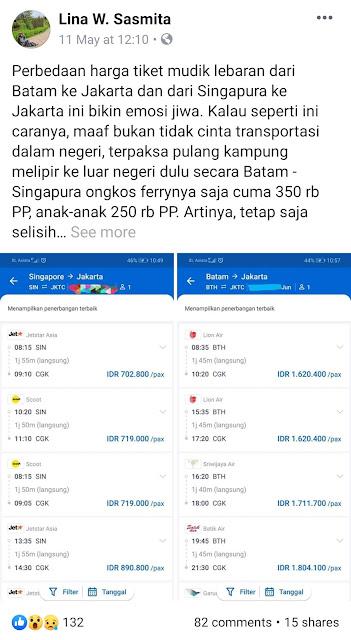 Tiket Mudik Pesawat Batam Jakarta