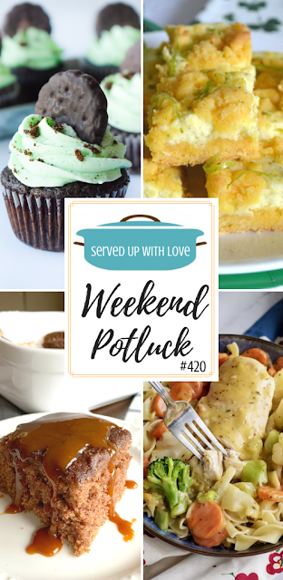 Weekend Potluck featured recipes include Creamy Chicken Skillet, Lime Cream Cheese Cake Bars, Mint Chocolate Cupcakes, Snickerdoodle Crazy Cake, and so much more.