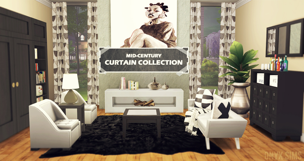 Mid-Century Curtain Collection - Onyx Sims