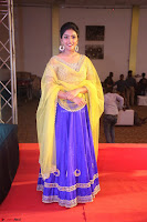 Actress Eesha in Yellow Choli Blue Ghagra at Darshakudu music launch 053.JPG