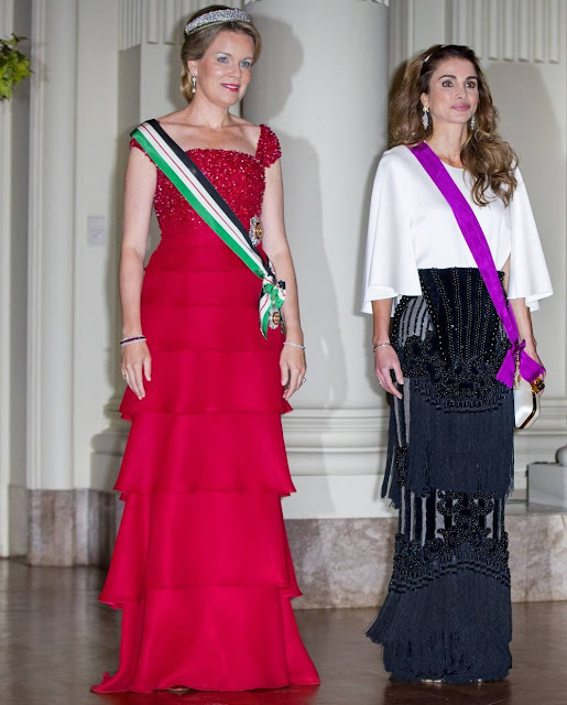 Queen Mathilde and Queen Rania attends a gala dinner at the Laeken royal Palace