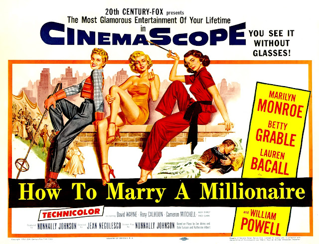 HOW TO MARRY A MILLIONAIRE. Cartelera Half Sheet: 71 x 56 cms. Estados Unidos. CÓMO CASARSE CON UN MILLONARIO. How to Marry a Millionaire. 1953. Estados Unidos. Dirección: Jean Negulesco. Reparto: Marilyn Monroe, Betty Grable, Lauren Bacall, William Powell, Rory Calhoun, David Wayne, Fred Clark, Cameron Mitchell, Alexander D'Arcy.