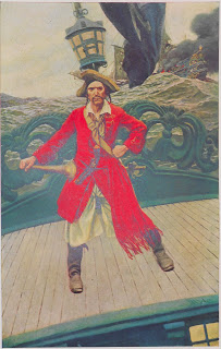 An illustration of a pirate in a long red coat, standing on the deck of a tossing ship.
