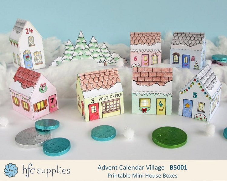 colour in village advent calendar