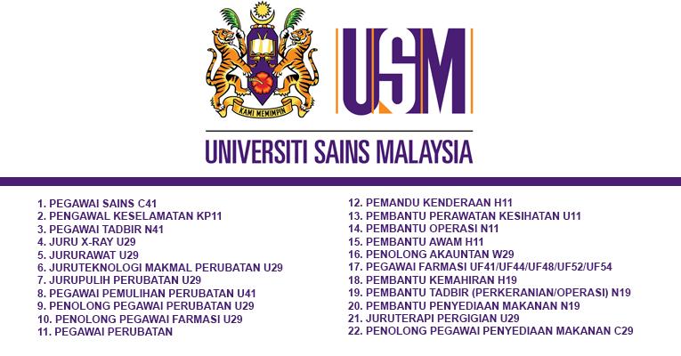 Jawatan Kosong di Universiti Sains Malaysia USM [ Pelbagai Jawatan Dibuka ]