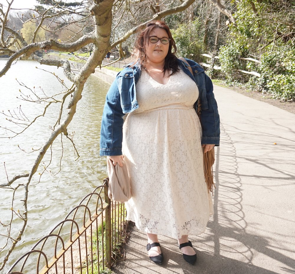 Cream plus size lace dress - Love Leah