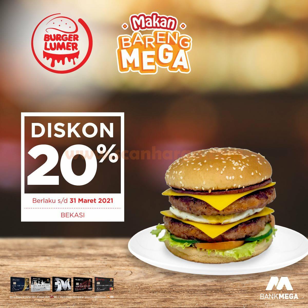 Promo Burger Lumer Bekasi Diskon 20% dengan Kartu Kredit Bank MEGA