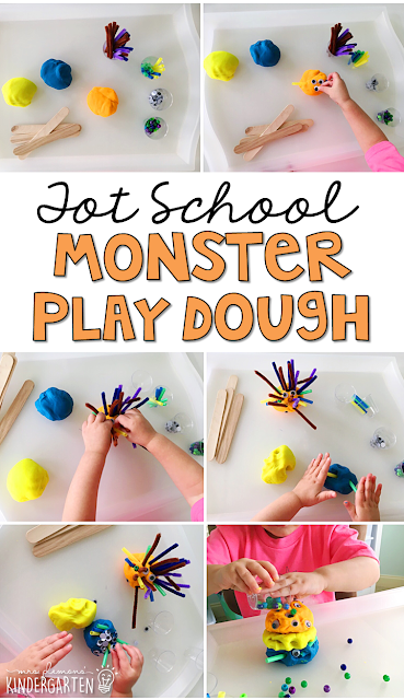 Building play dough monsters is a fun way to build fine motor strength with a Halloween theme. Great for tot school, preschool, or even kindergarten!