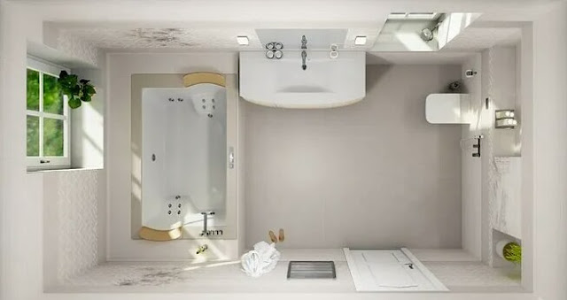 Layout of a bathroom in a residential building with an area of 80