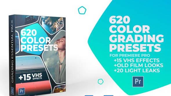 الحزمة كاملة 620 Cinematic Color Presets, 15 VHS Video Effects, Old Film Looks 24589977