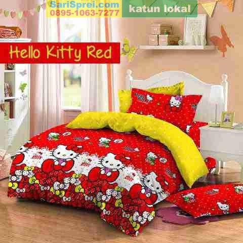 Sprei Katun Motif Anak Hello Kitty Red Star