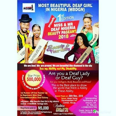 Most Beautiful Deaf Girl in Nigeria 2018 Miss and Mr Deaf Ngeria