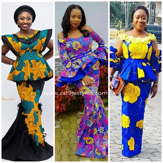 Super Stylish African Fashion Designs : Peplum Ankara Skirt And Blouse Styles 2018