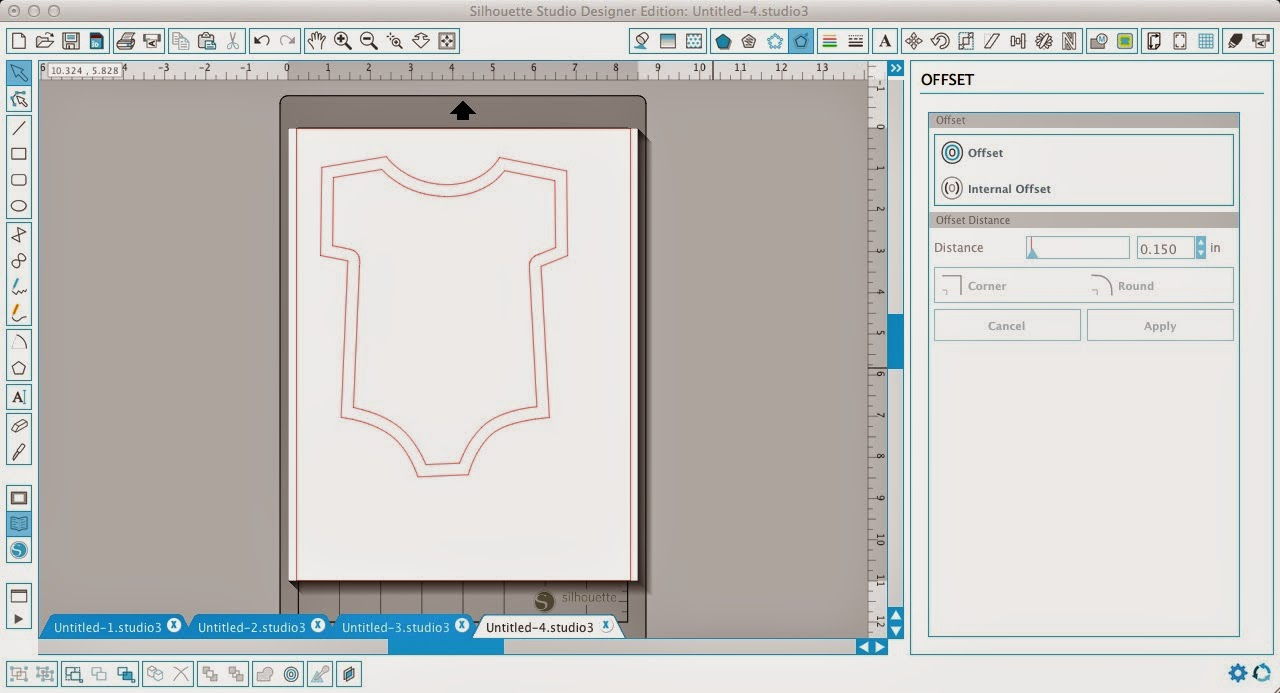 Faux stitching, Silhouette Studio, Silhouette tutorial, onesie, internal offset