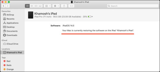 شريط تقدم الاستعادة لجهاز iPad على جهاز Mac.