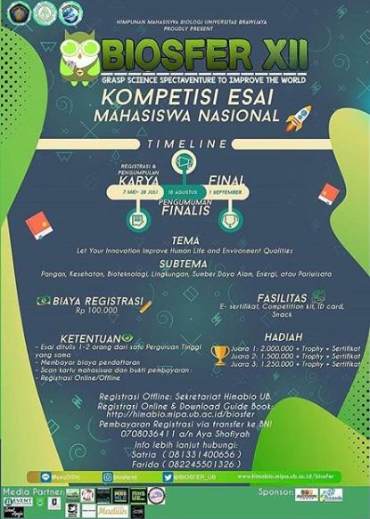 Kompetisi Esai Mahasiswa Nasional BIOSFER 12 2018 di Brawijaya
