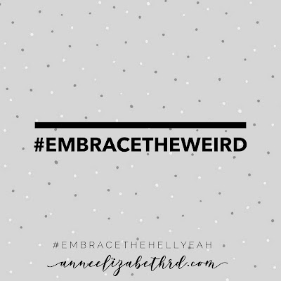 #Embracetheweird in black letters with a grey background and grey polka dots