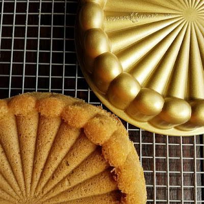 cinnamon sponge turned out of gold nordic ware charlotte shaped cake pan