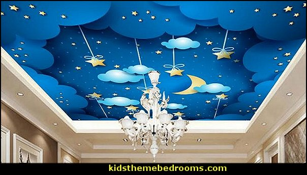 cloud star children room ceiling mural wall decor  Nursery Rhyme themed nursery decorating - Moon stars twinkle twinkle baby nursery decorating ideas -  storybook bedrooms - counting sheep baby bedroom ideas Humpty Dumpty decor - Mother Goose - moon stars baby bedding - Moon and Stars themed nursery - Nursery Rhymes wall murals - celestial themed baby nursery - moon stars wall stickers - stars clouds wall decals - moon stars baby bedroom ideas - moon stars nursery decor - magical baby unicorns -