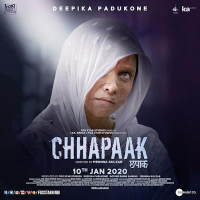 Deepika Padukone 'Chhapaak' Movie Poster First Look | Chhapaak Movie