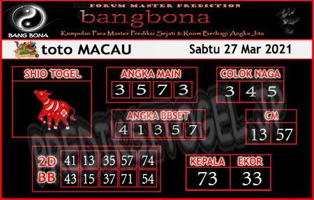Prediksi Bangbona Toto Macau Sabtu 27 Maret 2021