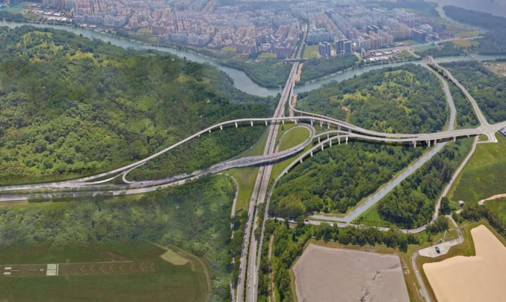An artist's impression of a new link road connecting Punggol Central to Kallang-Paya Lebar Expressway (KPE) and Tampines Expressway (TPE).
