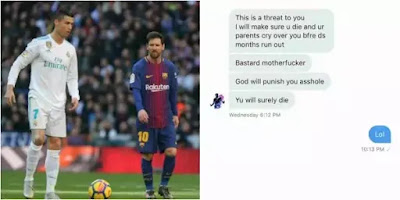 Lady gets death threat over who is better between Messi and Ronaldo