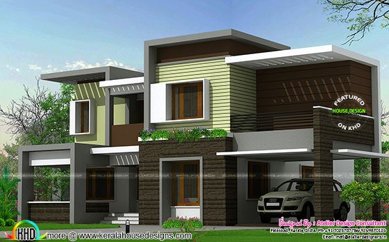 Modern box type house 2425 sq ft kerala home design and for Different types of house designs