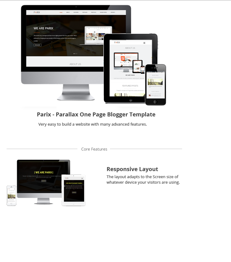 Parix One Page Blogger Template Themeforest