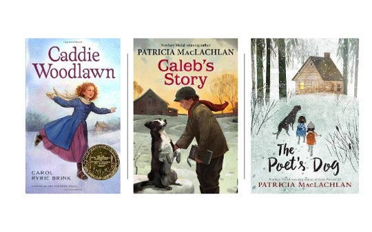 Image of The Poet's Dog, Caleb's Story, and Caddie Woodlawn in Pin image for 15 Winter Themed Novels for Upper Elementary