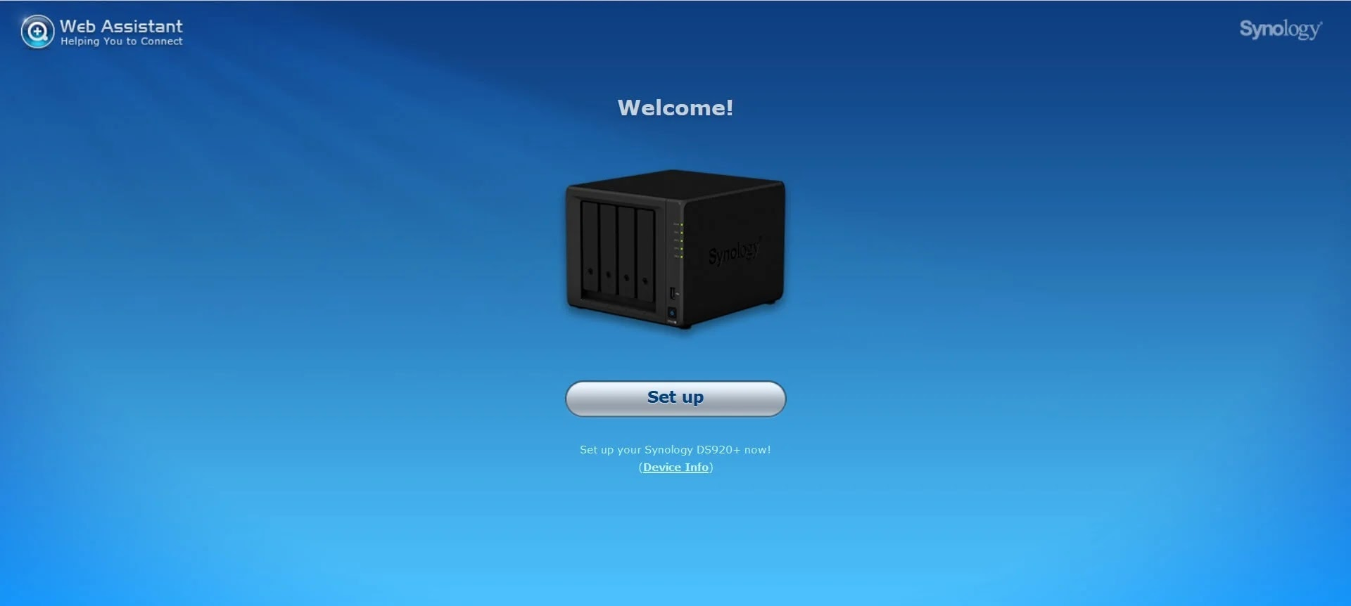 Synology DiskStation DS920+ Web Assistant