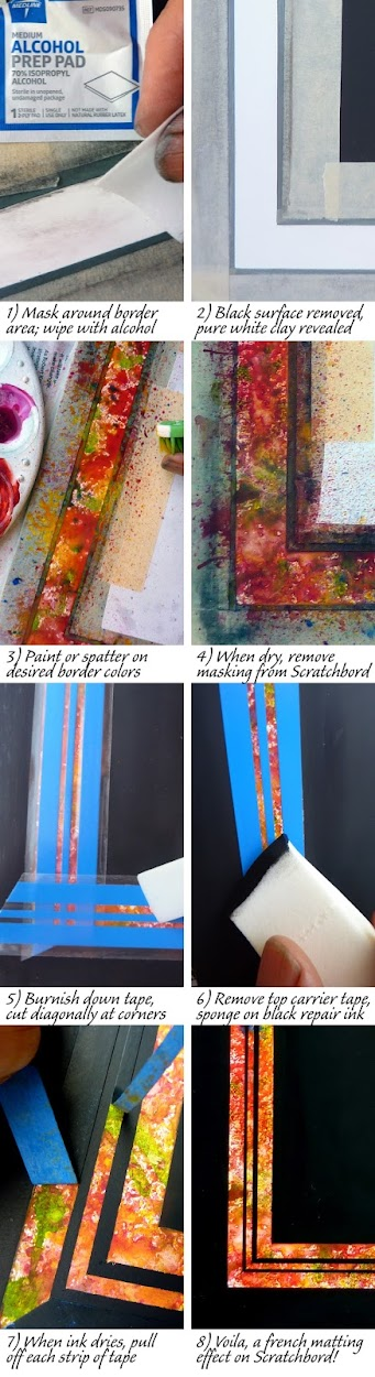 collage of steps to creating a french-mat style border on scratchboard