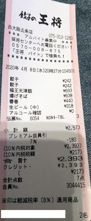 餃子の王将 西大路五条店 2020/4/8 飲食のレシート