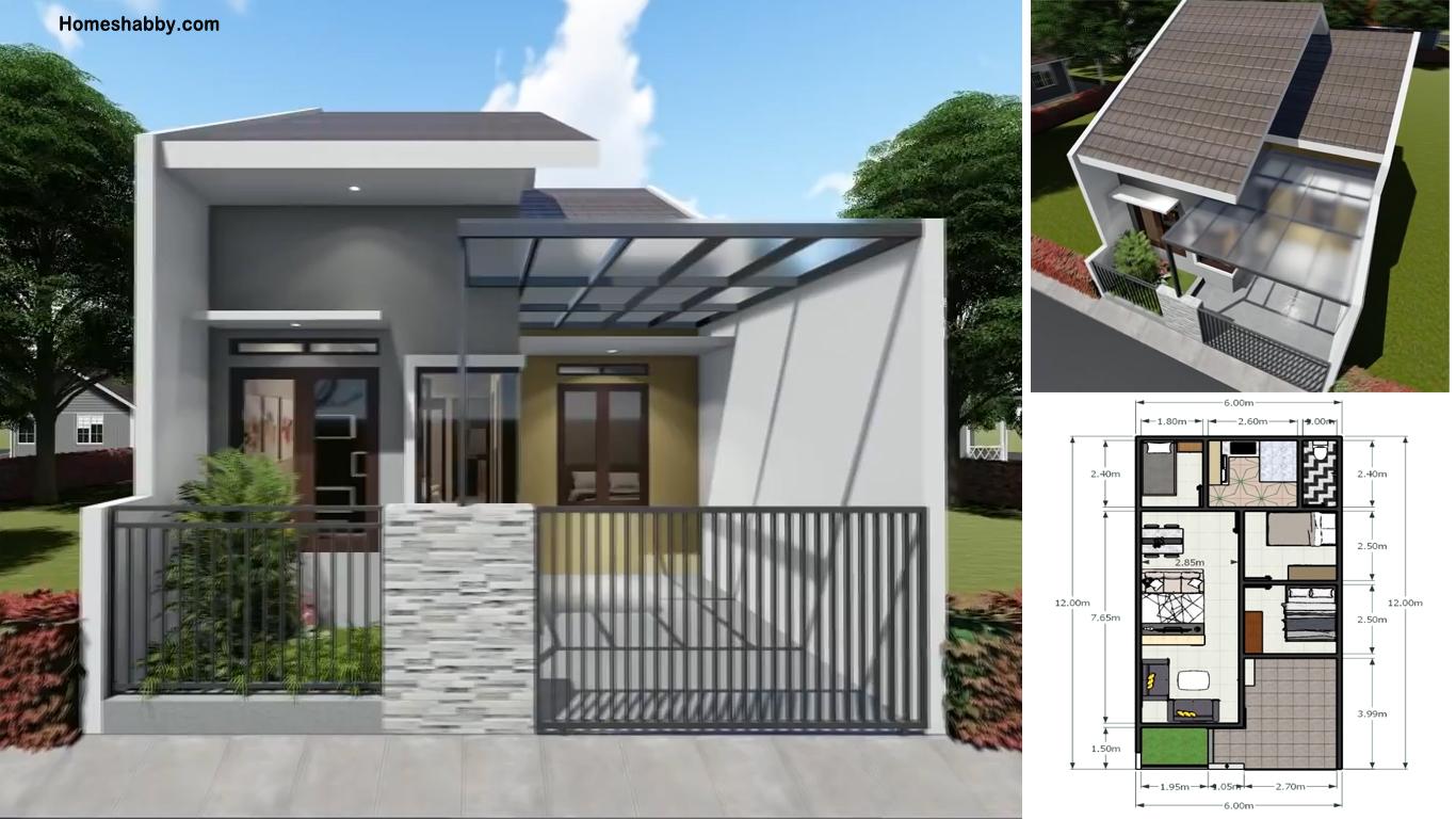 Desain Dan Denah Rumah Minimalis Ukuran 6 X 12 M 3 Kamar Tidur Cocok Untuk Keluarga Kecil Homeshabby Com Design Home Plans Home Decorating And Interior Design