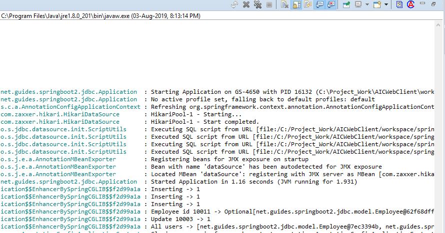 Spring Boot + Spring JDBC + H2 Database Example