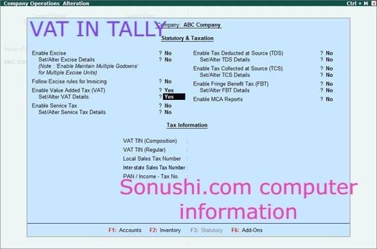 VAT in Tally