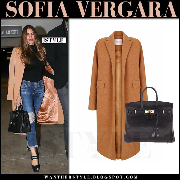 Sofia Vergara in camel coat the 2nd skin co, ripped skinny jeans with black leather tote hermes birkin what she wore