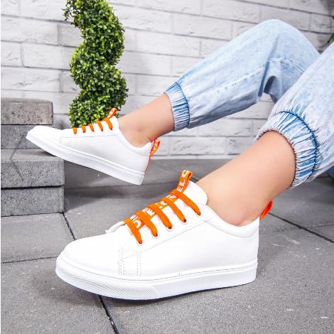 Tenisi fashion femei albi cu sireturi portocalii ieftini