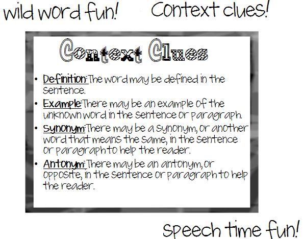 Wild Word Fun! Context Clues! - Speech Time Fun: Speech and
