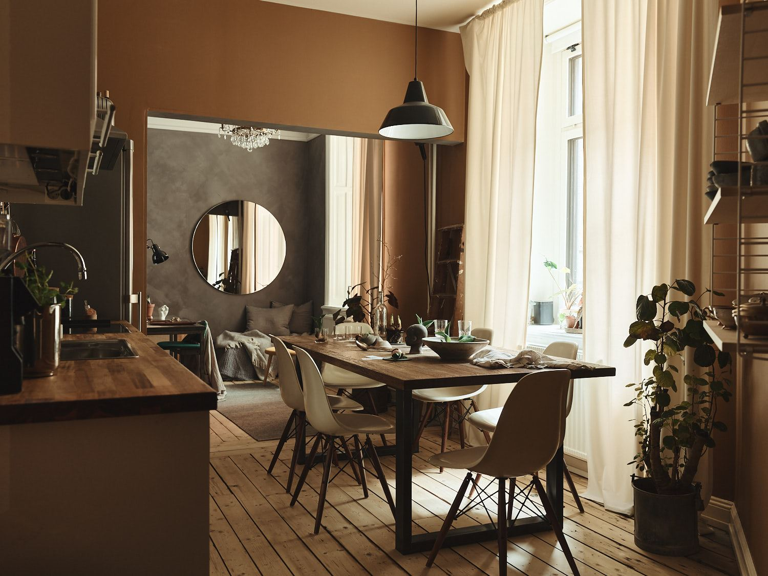 A Scandi apartment in warm caramel hues