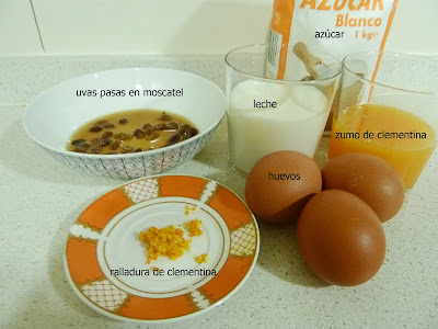 pudin de pan con clementinas, ingredientes