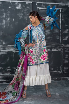 Latest designer lawn unstitch collection 2017 for women
