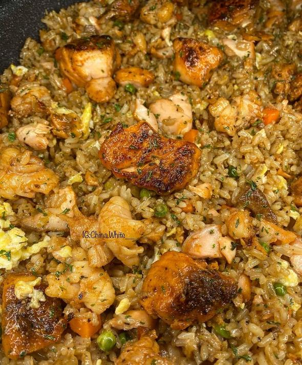 Spicy Salmon and Lobster Fried Rice