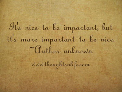 kindness quotes,  It's nice to be important, but it's more important to be nice. ~Author unknown