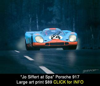 Siffert Porsche 917 art print, reproduction for sale, beacham owen, beach