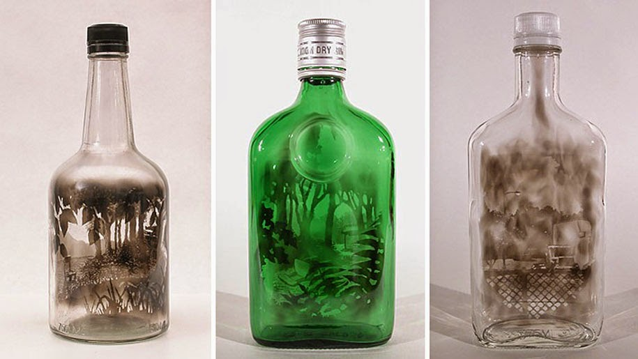 Smoke-filled glass bottles