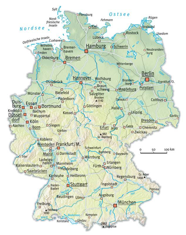Map Of Germany With Rivers.Germany River Map