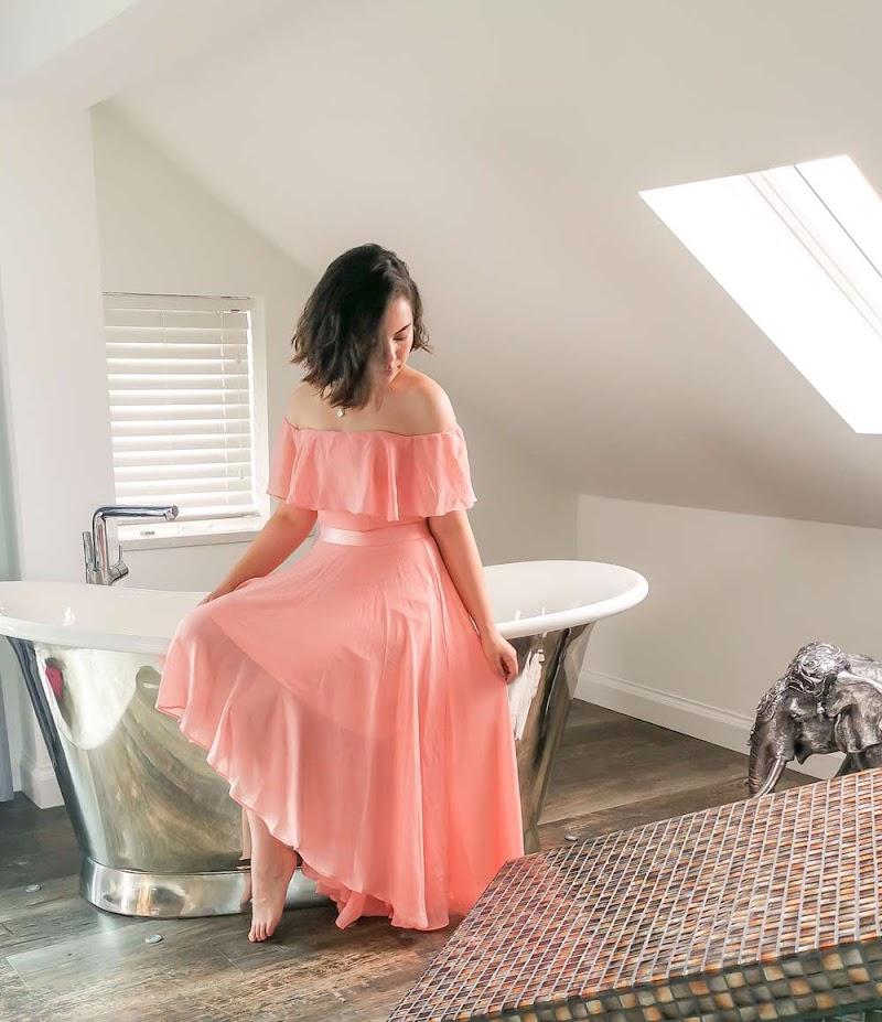 Goddiva Peach Chiffon Bardot Dress