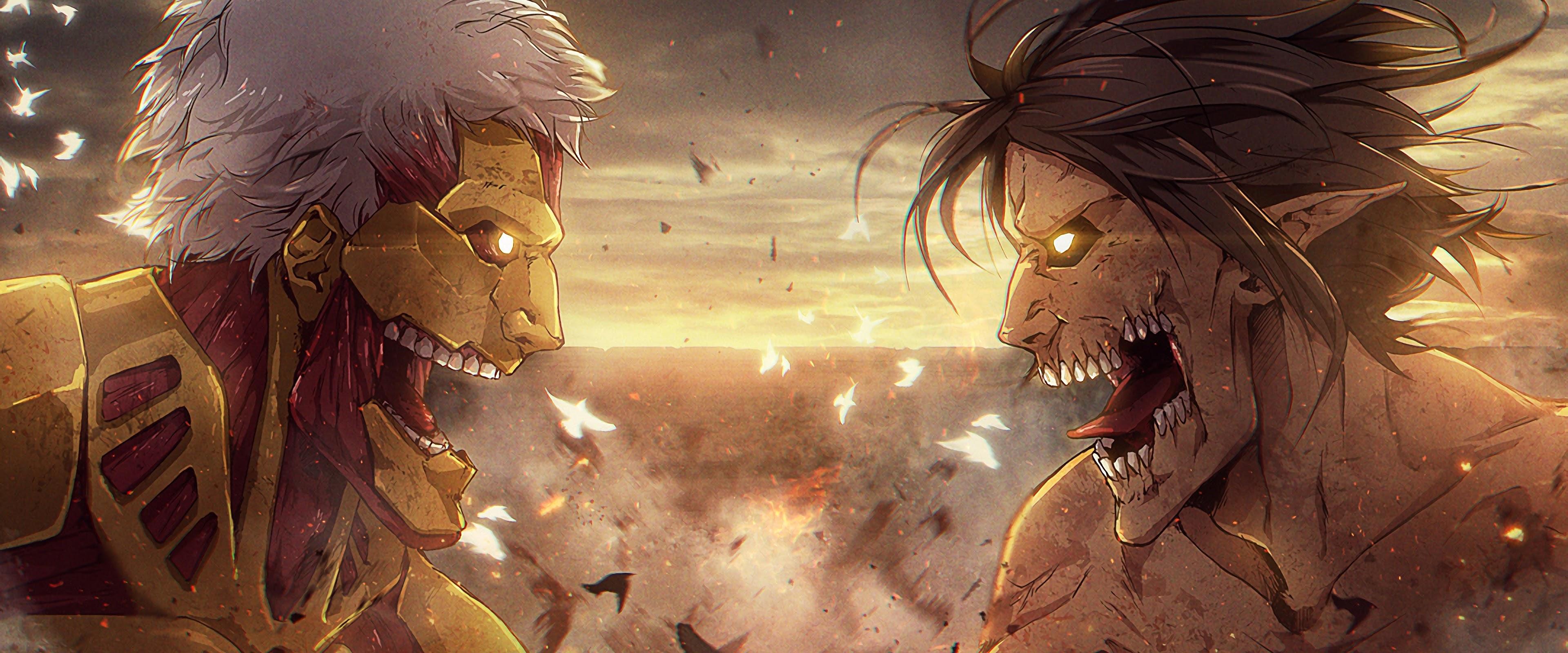 Armored Titan Vs Attack Titan Attack On Titan 4k Wallpaper 165